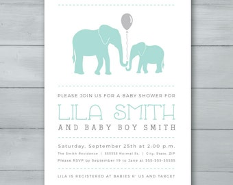 Elephant Boy Baby Shower Invitation  |  Blue Elephant Baby Shower Invitation  |  Boy Baby Shower Invite