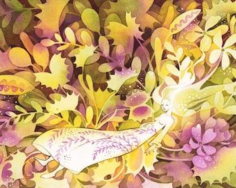Sleeping Beauty Fairytale Carnivorous Plants Dark Art Print of Original Watercolor Illustration