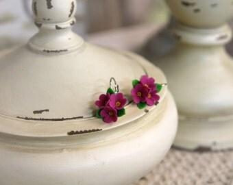 Polymer Clay ball earrings, handmade Flowers jewelry, floral earrings, flower ball earrings, small earrings, flower earrings