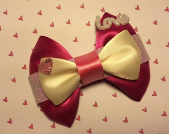 """Hot Pink """"Love"""" Valentine's Day Hair Bow"""