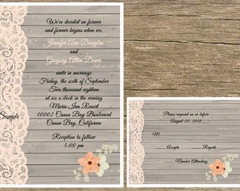 100 Personalized Rustic Wood Peach Lace Wedding Invitations Set Rsvp Cards