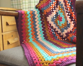 Bright Granny square blanket