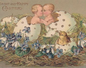 Vintage Easter Postcard - A Bright and Happy Easter 1908 Hatched Twins Confused Chick
