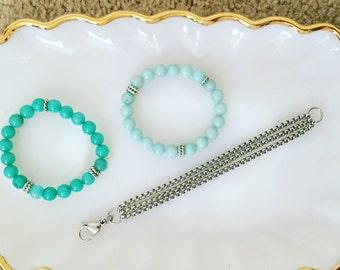 Triple Box Chain  Silver Link Layering Bracelet