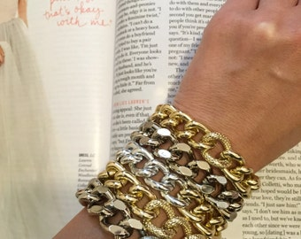 Double Textured Ombre Silver Gold Chunky Chain Bracelet