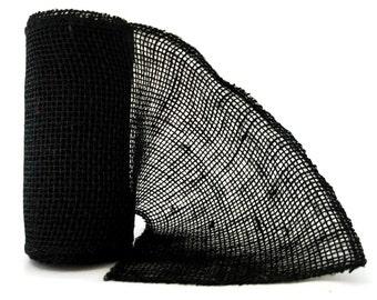 Wide Black Burlap Ribbon / Black Burlap / 6 inch x 5 yard Roll / Black Burlap Wrap / Wide Burlap Ribbon / Black Burlap Ribbon / PER ROLL