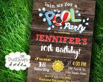 Pool Party Invitation, splish splash invite, birthday bash, Printable Digital Invitation, A357