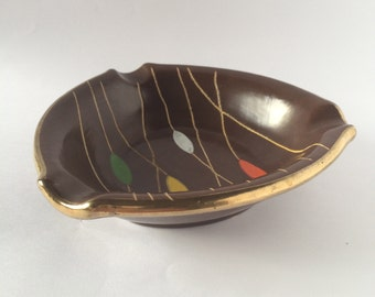 Retro ceramic ashtray plate bowl / German pottery / brown red gold yellow green /  Made in Germany / 1970s