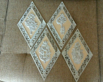 Four Syroco Diamond Wall Plaques, White Antiqued Diamond Shaped Plastic Wall Decor, 60s Classic Wall Hangings