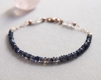 Delicate Iolite & Rose Quartz Gemstone Bracelet w/ 14K Rose Gold, Minimal Healing Jewelry 3mm Purple 4mm Pink Semi Precious Stone Beads