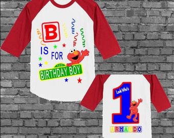 Elmo Birthday Shirt - Elmo Shirt - Raglan Available