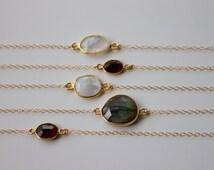 14k Gold Filled Fine Chain Choker Necklace, in Moonstone, Labradorite or Garnet