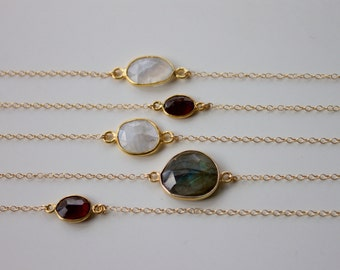 14k Gold Filled Fine Chain Choker Necklace, in Moonstone, Labradorite or Garnet