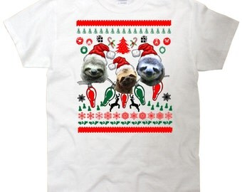 Ugly Christmas Sweater Sloths In Space Youth T-Shirt
