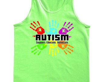 Support Educate Advocate Autism Handprint Tank Top
