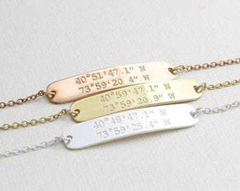 Dainty Personalized coordinates Bracelet, Coordinate Jewelry, Latitude Longitude Bracelet, Bridesmaid Gift