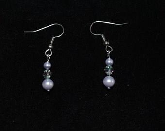 Swarovski Crystal and Pearl Dangle Earring in Lavender