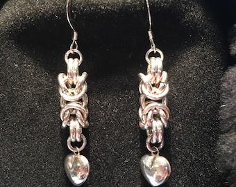 Sterling Byzantine Heart Earrings