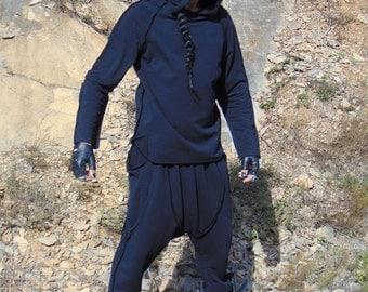 Ninja Black set/New 2017 Activewear men/Black coton top/Black pants/black sweatshirt hood/Avant-garde men top/