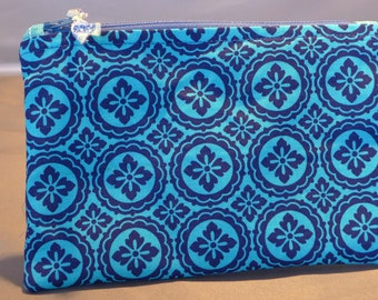 Nifty Blue on Blue Zippered Pouch