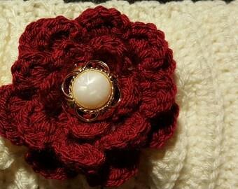 Crimson and cream with Flower Crochet Headband