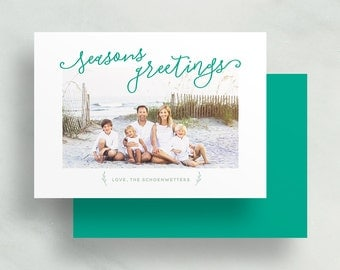 seasons greetings holiday card // personalized photo card // christmas card // hand lettered // printable // digital // custom holiday card