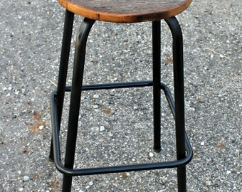 Industrial and Wood Barstool
