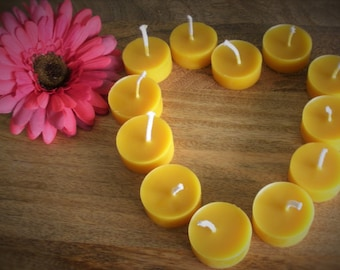7 x Pure Beeswax Tealights, in re-usable poly-carbonate cups, 4 hr burn, Gift Pack Option, Handmade, home decor