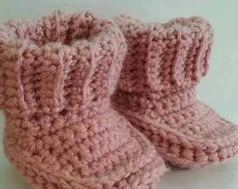 Rolled Down Cuff 3 Month Baby Booties