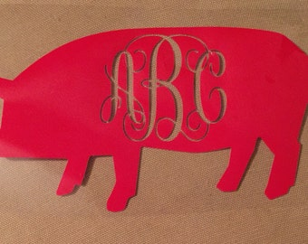 Hog decal with your initials, hog sticker, vinyl razorback