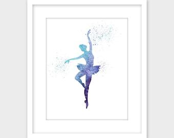 Ballerina Ballet Dancer Printable Art, Blue & Purple Splatter Nursery Wall Art Print, Girls Room Decor Instant Digital Download