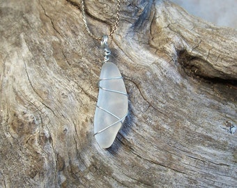 Jewelry, Necklace, Lake Superior Sea Glass, Opaque to White, Silver.  Beach Wedding, Gifts for Women, Seaglass, Gifts.