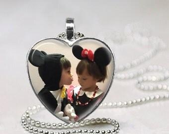 Custom Photo Glass Pendant, Heart Photo Glass Necklace, Custom Photo Glass Keychain