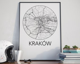 Krakow, Poland Minimalist City Map Print