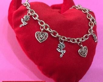 Charm Bracelet Hearts & Roses 4SR3HF
