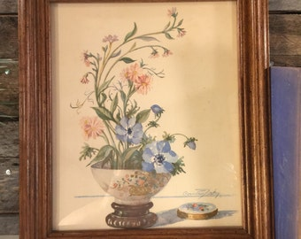 Floral print and frame. Vintage art. Still life