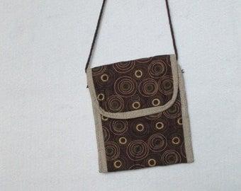 Brown circles modern sling purse