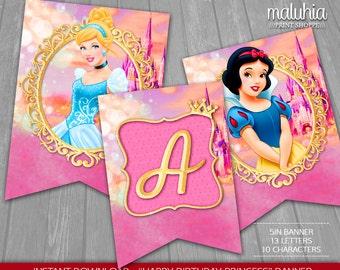 Princess Birthday Banner - INSTANT DOWNLOAD - Disney Princesses Digital Printable - Happy Birthday Princess Ariel Snow White Aurora Pennant