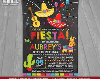 Fiesta Birthday Invitation - Cinco De Mayo Invitation - Mexican Fiesta Printed or Printable Invitation - Fiesta Invitation Party (MXIN01)