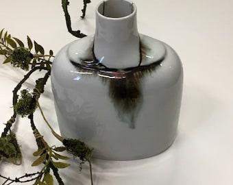 weiß-grüne Vase, Keramik, Vintage, West German Pottery