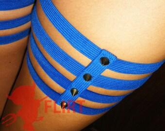 Blue or black spiked leg garters hip garters