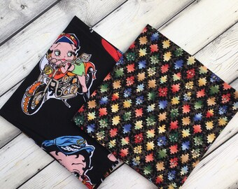 2 Biker Pocket Square Gift Set BeTY BOOP Motorcycle NaTiVE AMeRiCAN Black Multicolor Hankie, Cotton Handkerchief, Men Women Business Casual