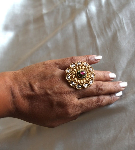 Adjustable Traditional Indian Ring Bollywood Rings Antique