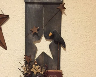 Primitive Country Picket Shutter Shelf With Star Cutout Shutter Only Custom Sizes And Colors Available
