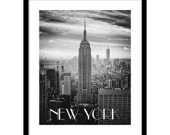 NYC Skyline Poster, Large Minimalist Art, Large City Wall Art, Modern City Poster, New York City Photo