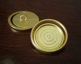 "2 - Orbit Metal Buttons with Shank 7/8"" (22mm) Gold Color"