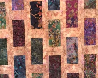 Batik Throw Quilt, Purple and Pink and Blue Batik Quilt, Hand Made Batik Throw Quilt