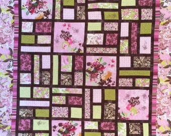 Pink, Brown and Green  Modern Quilt