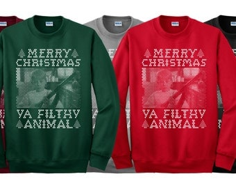 Merry Christmas Ya Filthy Animal BB-GUN 1 Color Crew Neck Holiday Sweater