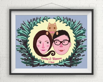 Paar Portrait, Paar mit Haustier Portrait , Weihnachtsgeschenk für Ihn, Geschenk für Paar, Hochzeitsgeschenk, Jahrestag Geschenk,